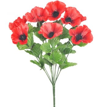 artificial poppy bouquet with green leaf foliage