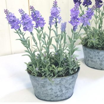 tub of artificial lavender