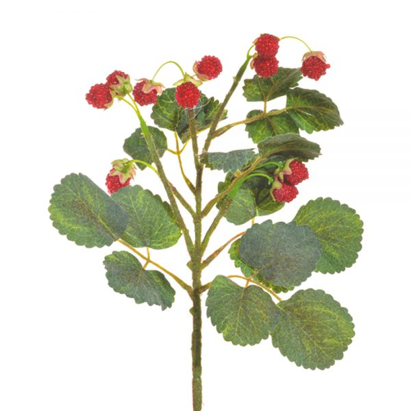 artificial raspberry spray with green leaf foliage