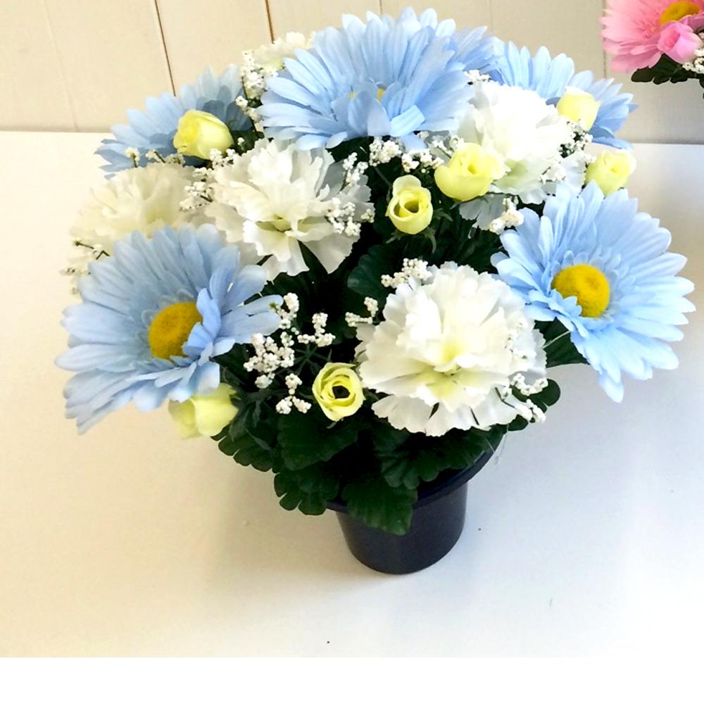 Pastel Pale Blue Artificial Flower Arrangement Baby S Grave Pot Blue Flowers