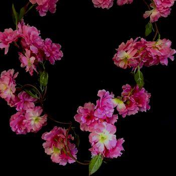 pink artificial blossom galrand