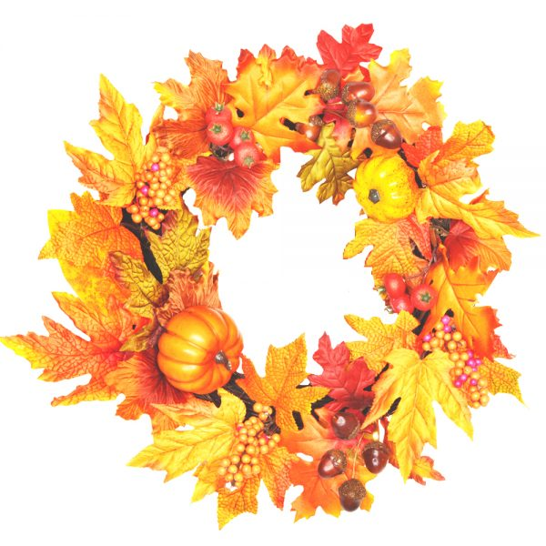 artificial autumn wreath with maple leaves and pumpkins