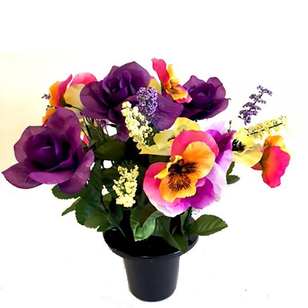 Artificial Pansies and Rose Grave Pot