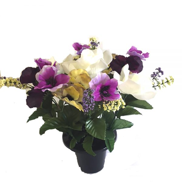 Artificial Pansies and White Rose Grave Pot