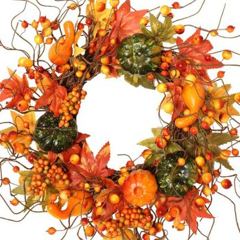 artificial pumpkin and berry wreath