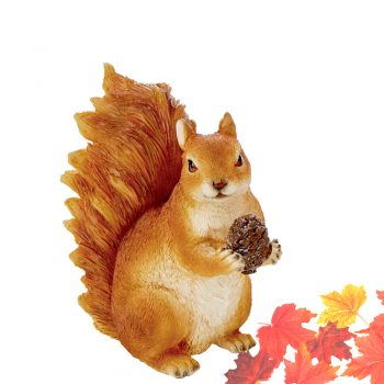 resin squirrel ornament with acorn and artificial maple leaves
