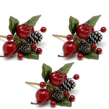 Red Lacquered Fruit Picks - Set of 3