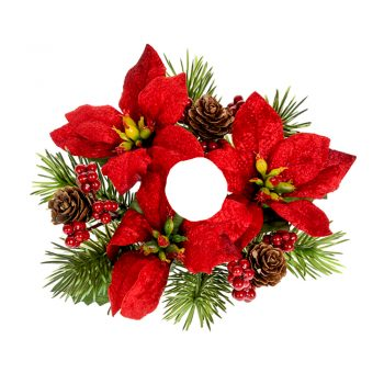 Artificial Candle Ring with Red Poinsettia