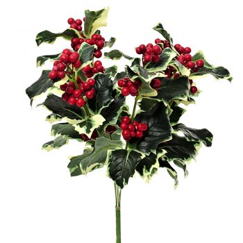 fake holly bush with variegated leaves