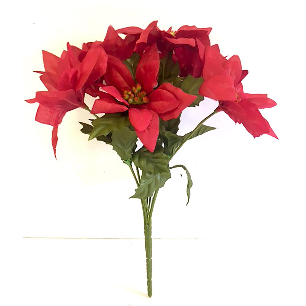 Artificial Silk Poinsettia Bush Christmas Flowers Shelf Edge Uk