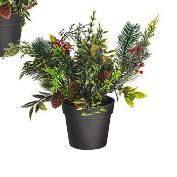 Artificial Silver Glitter Potted Spruce and Berry Plant