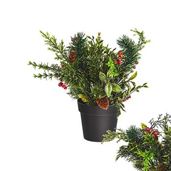 Artificial Gold Glitter Potted Spruce and Berry Plant