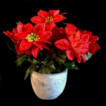 Artificial Red Poinsettia Plant