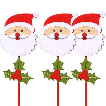 Wooden and Felt Santa Christmas Picks