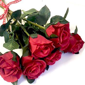 Artificial Red Rosebud Bundle