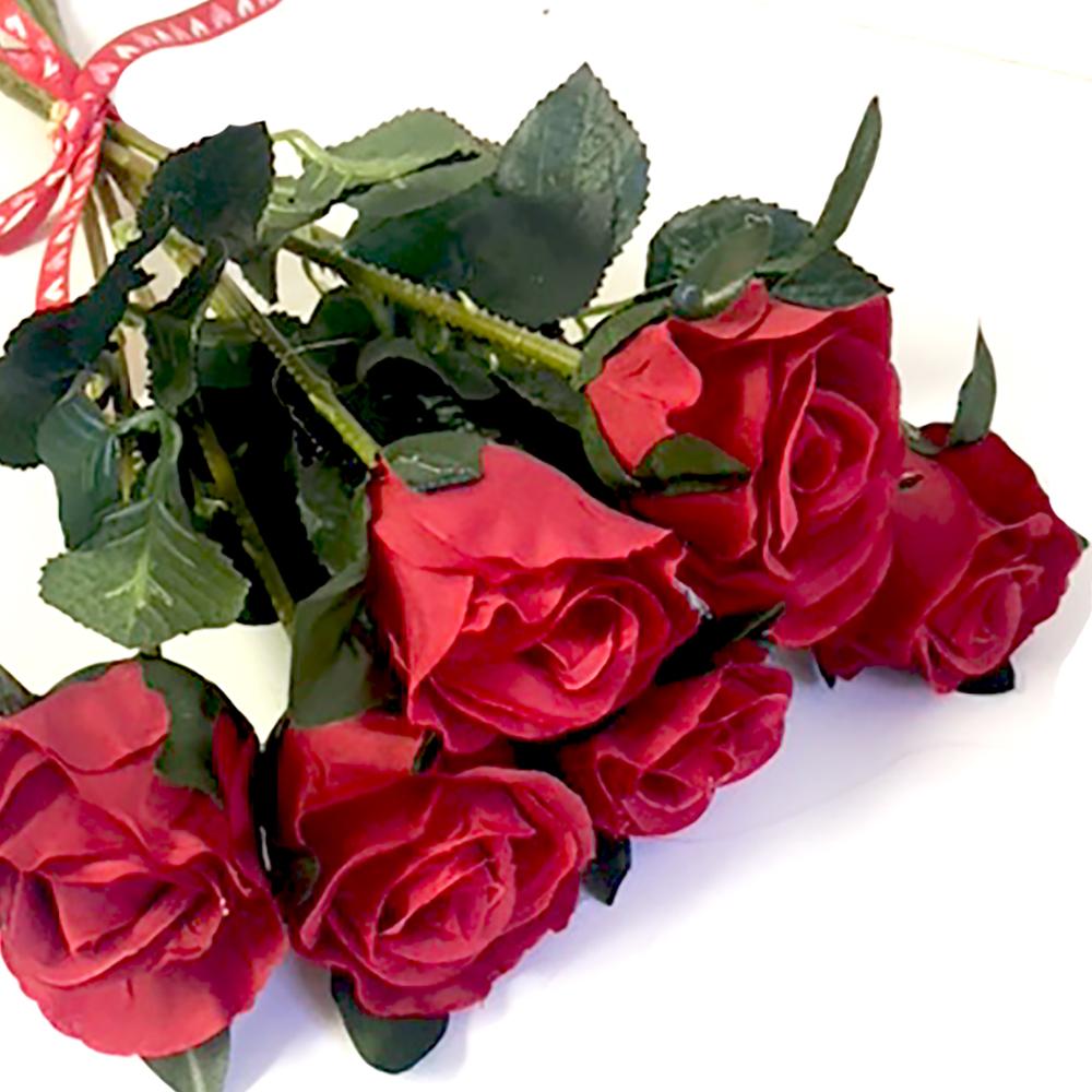 Artificial Red Rosebud Bundle | 6 beautiful silk roses | Shelf Edge UK