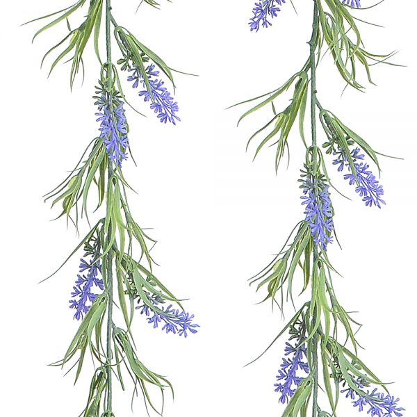 hanging stems of artificial lavender