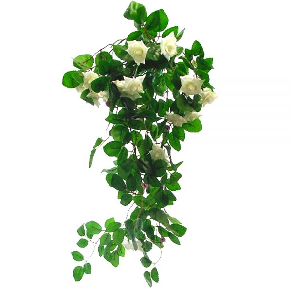 ivory mini artificial roses in a trailing bush