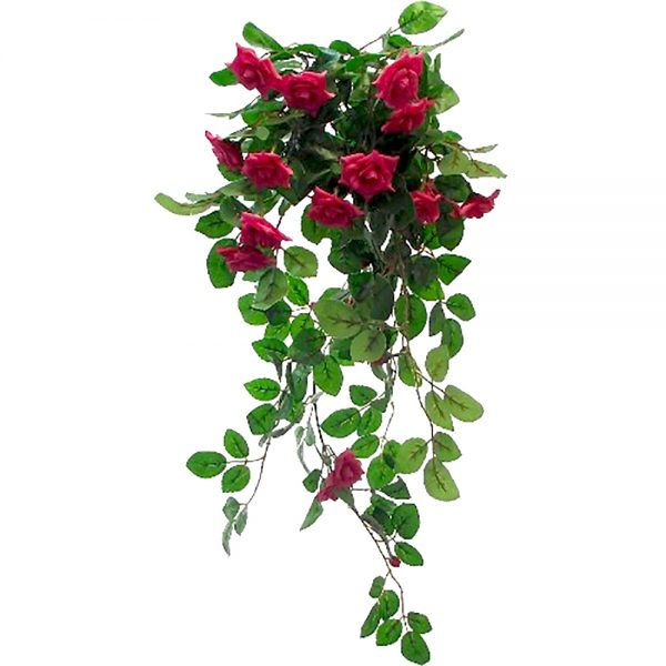 red mini artificial roses in a trailing bush