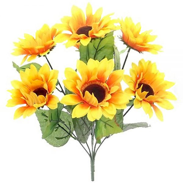 47cm Large Artificial Sunflowers Bush Bright Yellow