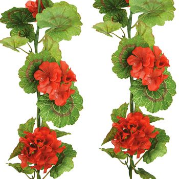 Artificial Silk Red Geranium Hanging Garland
