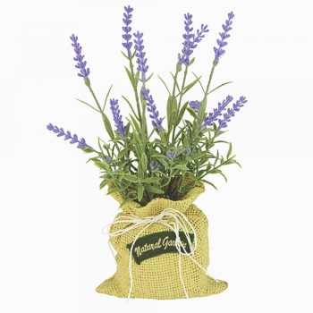 artificial lavender in a jute bag