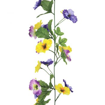 Artificial pansy garland purple yellow