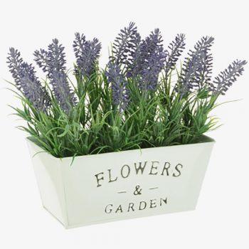 large decorative pot of artificial lavender