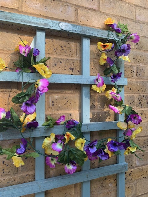 Artificial Pansy Garland Purple Yellow Flowers