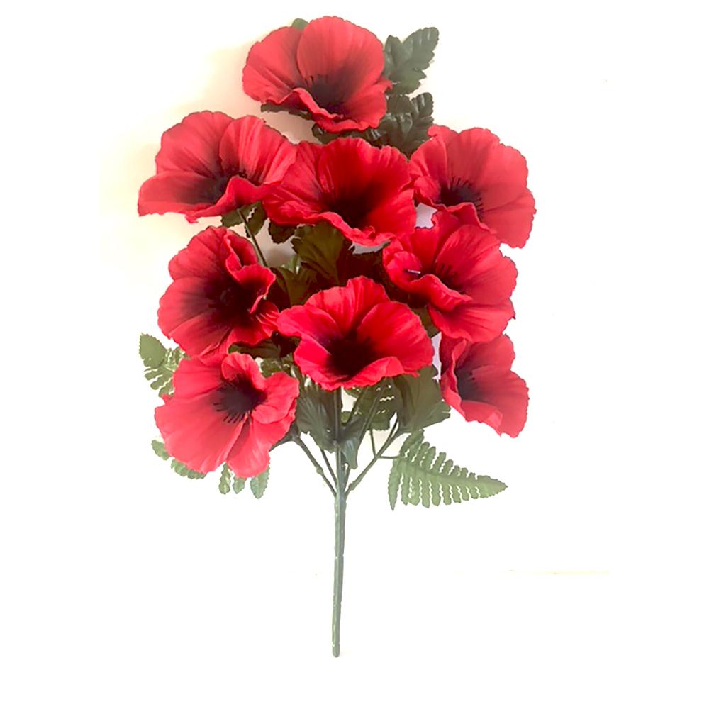 Artificial 40cm red poppy fern spray with 9 heads shelf edge artificial 40cm red poppy fern spray with 9 heads mightylinksfo