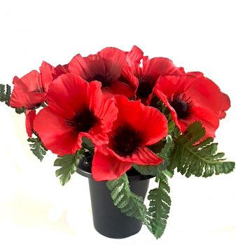 artificial poppy grave pot with green fern foliage
