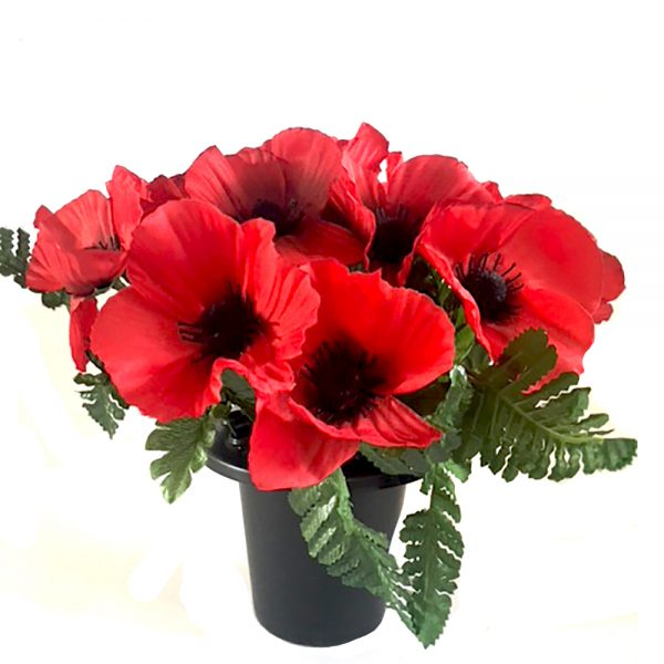 Grave Vase with Red artificial Poppies and Fern Leaves