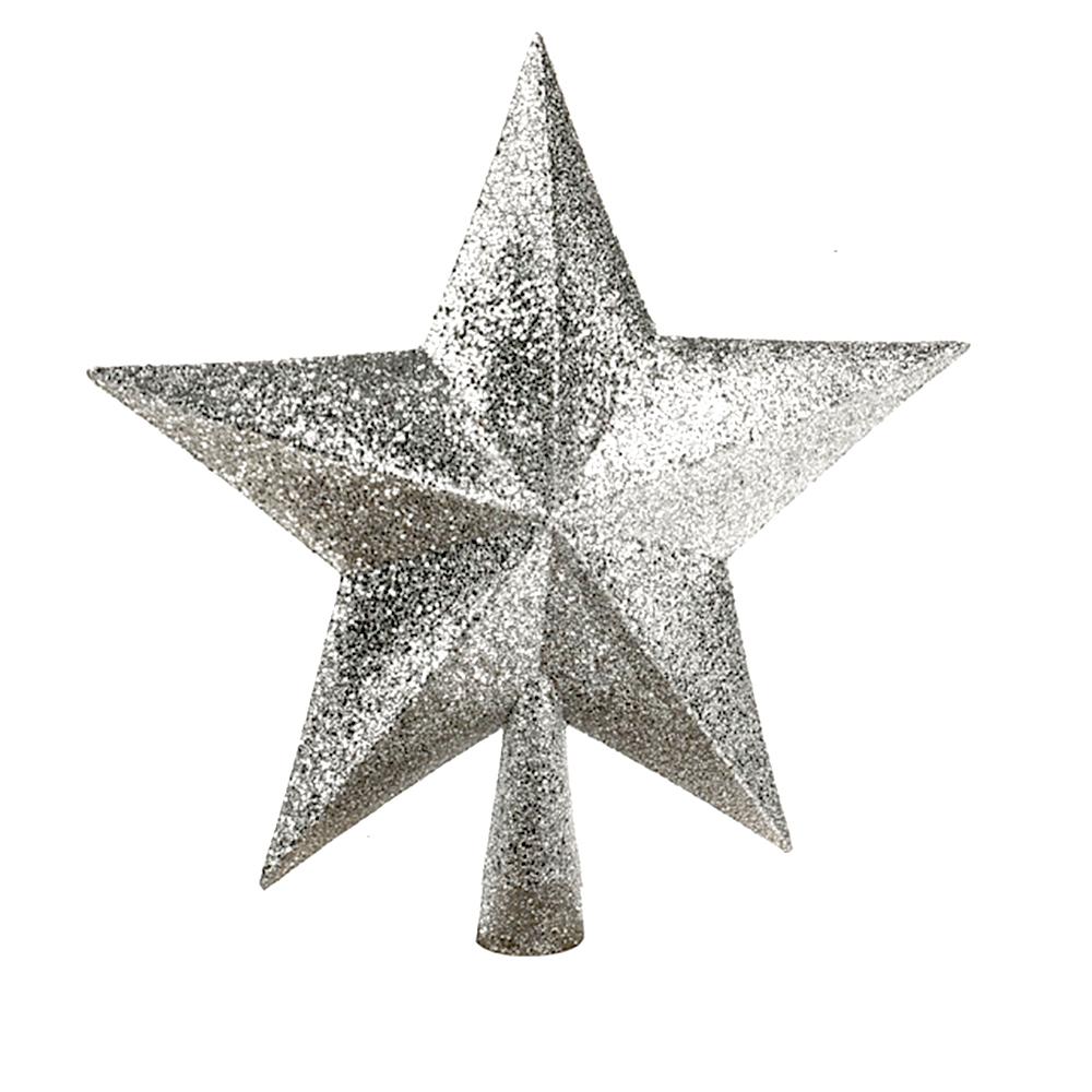 Sparkle Star Christmas Tree Topper Silver