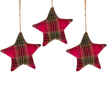 Christmas Tartan Star Hanging Decorations