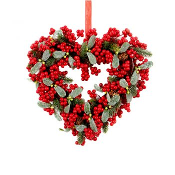 30cm Red Berry and Leaf Heart Wreath