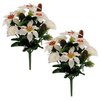 Artificial Ivory Poinsettia Christmas Bush