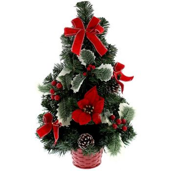 Artificial Luxury Spruce Christmas Tree with Red Poinsettia