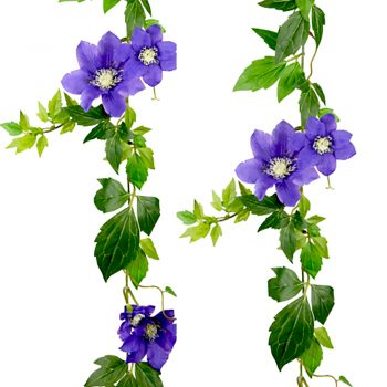 Blue Artificial Clematis Garland