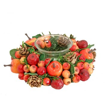 autumn votive candle holder with artificial fruit