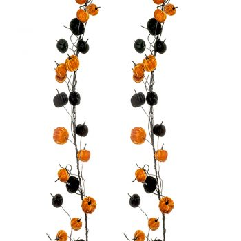 orange and black artificial pumpkin garland