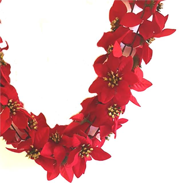 Artificial Poinsettia Garland 180cm Garland Perfect For Fireplace Decoration