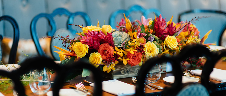 harvest flower arrangement on a table