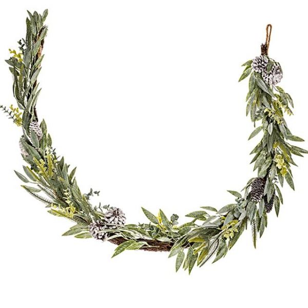 pinecone garland with mixed leaves