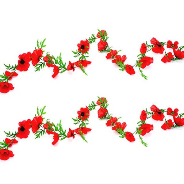 two flame red artificial poppy garland