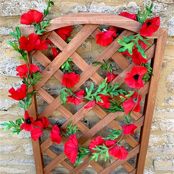 Artificial Poppy Flame Red Garland
