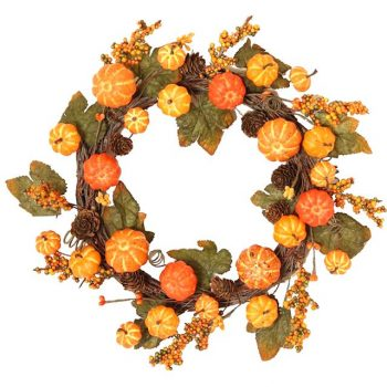 artificial pumpkin wreath with berries