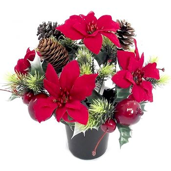 Artificial red Christmas poinsettia memorial arrangement