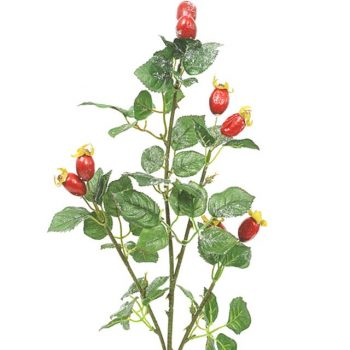 artificial rose hip spray red