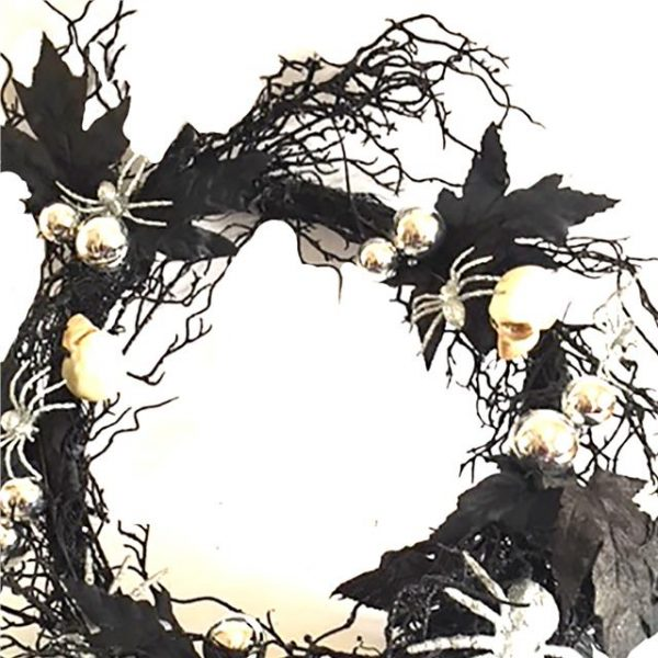 Halloween wreath with lights, skulls and spiders