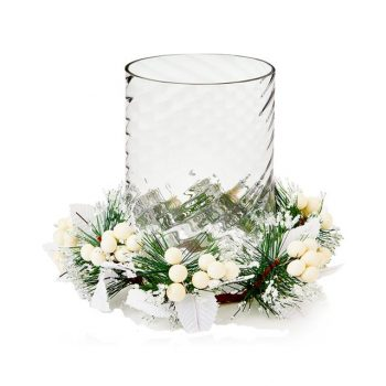 white candle ring with glass candle holder